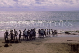 SRI LANKA, south coast, Beruwela, fishermen hauling in net, SLK2039JPL