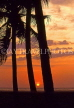 SRI LANKA, south coast, Beruwela, sunset and coconut trees, SLK1520JPL