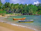 SRI LANKA, south coast, Dondra, beach and two fishing boats, SLK1605JPL