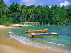 SRI LANKA, south coast, Dondra, beach and two fishing boats, SLK234JPL