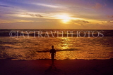 SRI LANKA, south coast, Galle, beach and sunset, boy paddling, SLK1836JPL