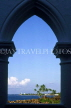 SRI LANKA, south coast, Galle, coast view through arch at Closenberg Hotel, SLK1931JPL