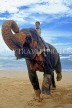 SRI LANKA, west coast, boy (tourist) on elephant ride, SLK1687JPL