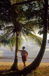 ST LUCIA, Choc beach, and tourist standing by coconut tree, STL689JPL