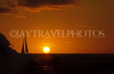 ST LUCIA, Reduit Beach, sunset and sailboat, STL211JPL