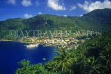 ST LUCIA, Soufriere, town and coastal view, STL701JPL