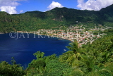ST LUCIA, Soufriere, town view and bay, STL683JPL