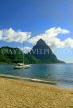ST LUCIA, The Pitons and yacht, view from Soufriere beach, STL608JPL