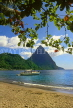 ST LUCIA, The Pitons and yacht, view from Soufriere beach, STL652JPL