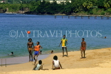 ST LUCIA, locals playing on beach, STL696JPL