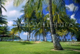 ST LUCIA, west coast view, through coconut trees, STL723JPL