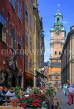 SWEDEN, Stockholm, Old Town Square (Gamla Stan Stortorget), cafes and Cathedral Tower, SWE194JPL
