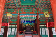 South Korea, SEOUL, Gyeonghuigung Palace, Sungjeongjeon (main hall),interior, throne, SK694JPL