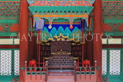 South Korea, SEOUL, Gyeonghuigung Palace, Sungjeongjeon (main hall),interior, throne, SK696JPL
