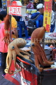 South Korea, SEOUL, Myeongdong, street food, food stalls, seafood stall decoration, SK1327JPL