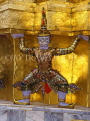 THAILAND, Bangkok, GRAND PALACE (Wat Phra Keo), Demon Guardian figure on chedi, THA1784JPL
