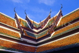 THAILAND, Bangkok, GRAND PALACE (Wat Phra Keo), building roof tops and tile work, THA1985JPL