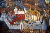 THAILAND, Bangkok, GRAND PALACE (Wat Phra Keo), gallery murals depicting Ramakien stories, THA17JPL