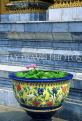 THAILAND, Bangkok, GRAND PALACE (Wat Phra Keo) complex, large pottery with water lily, THA995JPL