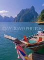 THAILAND, Khao Sok National Park, Chao Lan Lake, Drum Peak and longtail boat, THA1936JPL