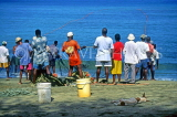 TOBAGO, Great Courtland Bay, fishermen dragging in nets, CAR949JPL