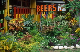 TOBAGO, bar with beers sign, and tropical plants, CAR946JPL