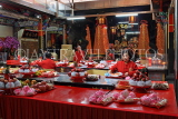 Taiwan, TAIPEI, Cisheng Temple, main hall with fruit offerings on display, TAW1365JPL