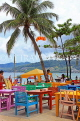 Thailand, PHUKET, Patong Beach, restaurant with colourful tables and chairs, THA4022JPL