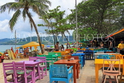 Thailand, PHUKET, Patong Beach, restaurant with colourful tables and chairs, THA4023JPL