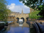 UK, Avon, BATH, River Avon, Pulteney Bridge and cruise boat, BAT309JPL