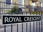 UK, Avon, BATH, Royal Crescent wraught iron and street sign, BAT317JPL