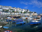 UK, Devon, BRIXHAM, town centre, fishing harbour, boats and replica of Golden Hind ship, DEV376JPL