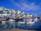 UK, Devon, BRIXHAM, town centre, fishing harbour, boats and replica of Golden Hind ship, DEV378JPL
