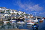 UK, Devon, BRIXHAM, town centre, fishing harbour, boats and replica of Golden Hind ship, DEV407JPL