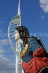 UK, Hampshire, PORTSMOUTH, Gunwharf Quays, ship figurehead and Spinnaker Tower, UK6670JPL