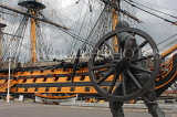 UK, Hampshire, PORTSMOUTH, Historic Docks, HMS Victory and bronze field gun statue, UK6635JPL