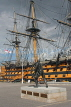 UK, Hampshire, PORTSMOUTH, Historic Dockyard, HMS Victory and bronze field gun statue, UK6575JPL