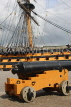 UK, Hampshire, PORTSMOUTH, Historic Dockyard, HMS Victory and canon, UK6681JPL