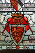 UK, Hampshire, WINCHESTER, The Great Hall, stained glass window, depicting Court of Arms, UK8097JPL