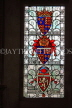 UK, Hampshire, WINCHESTER, The Great Hall, stained glass window, depicting Courts of Arms, UK8080JPL