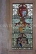 UK, Hampshire, WINCHESTER, The Great Hall, stained glass window, depicting Courts of Arms, UK8088JPL