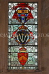 UK, Hampshire, WINCHESTER, The Great Hall, stained glass window, depicting Courts of Arms, UK8089JPL