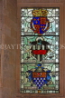 UK, Hampshire, WINCHESTER, The Great Hall, stained glass window, depicting Courts of Arms, UK8090JPL