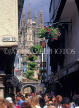 UK, Kent, CANTERBURY, crowds in narrow street and Cathedral in background, CTB228JPL