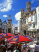 UK, Kent, CANTERBURY, outdoor cafe scene and by Christ Church Gate, CTB222JPL