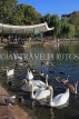 UK, LONDON, Hyde Park, Serpentine lake, lakeside cafe, and swans, UK11769JPL