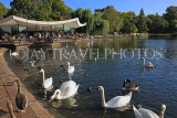 UK, LONDON, Hyde Park, Serpentine lake, lakeside cafe, and swans, UK11777JPL