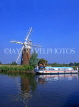 UK, Norfolk, NORFOLK BROADS, pleasure boat passing by Turf Fen Mill, UK5403JPL