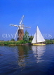 UK, Norfolk, NORFOLK BROADS, sail boat passing by Turf Fen Mill, UK5404JPL