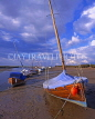UK, Norfolk, North Norfolk Coast, near Blakeney, boat on beach, low tide, UK252JPL